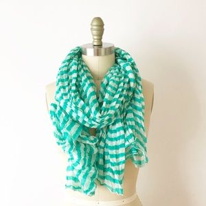 Vibrant Teal & White Striped Gauze Large Scarf